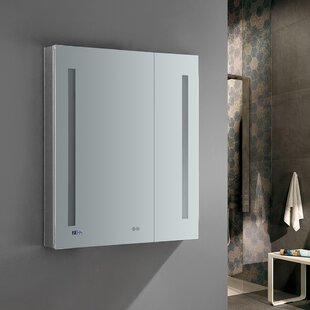 Tiempo 30 x 36 Recessed or Surface Mount Frameless Medicine Cabinet with LED Lighting and Defogger Fresca
