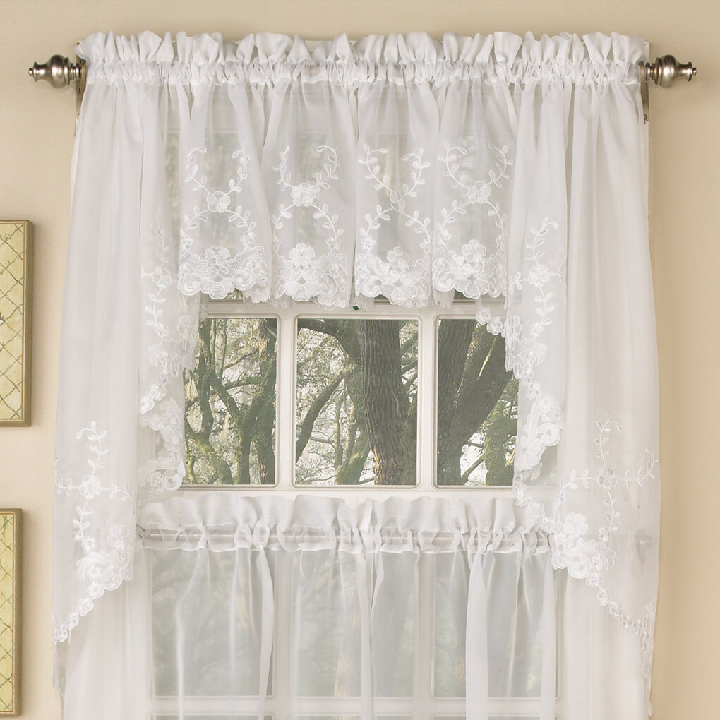 surprising Voile Valance Part - 17: Sweet Home Collection Laurel Leaf Sheer Voile Embroidered Kitchen Curtain  Valance | Wayfair