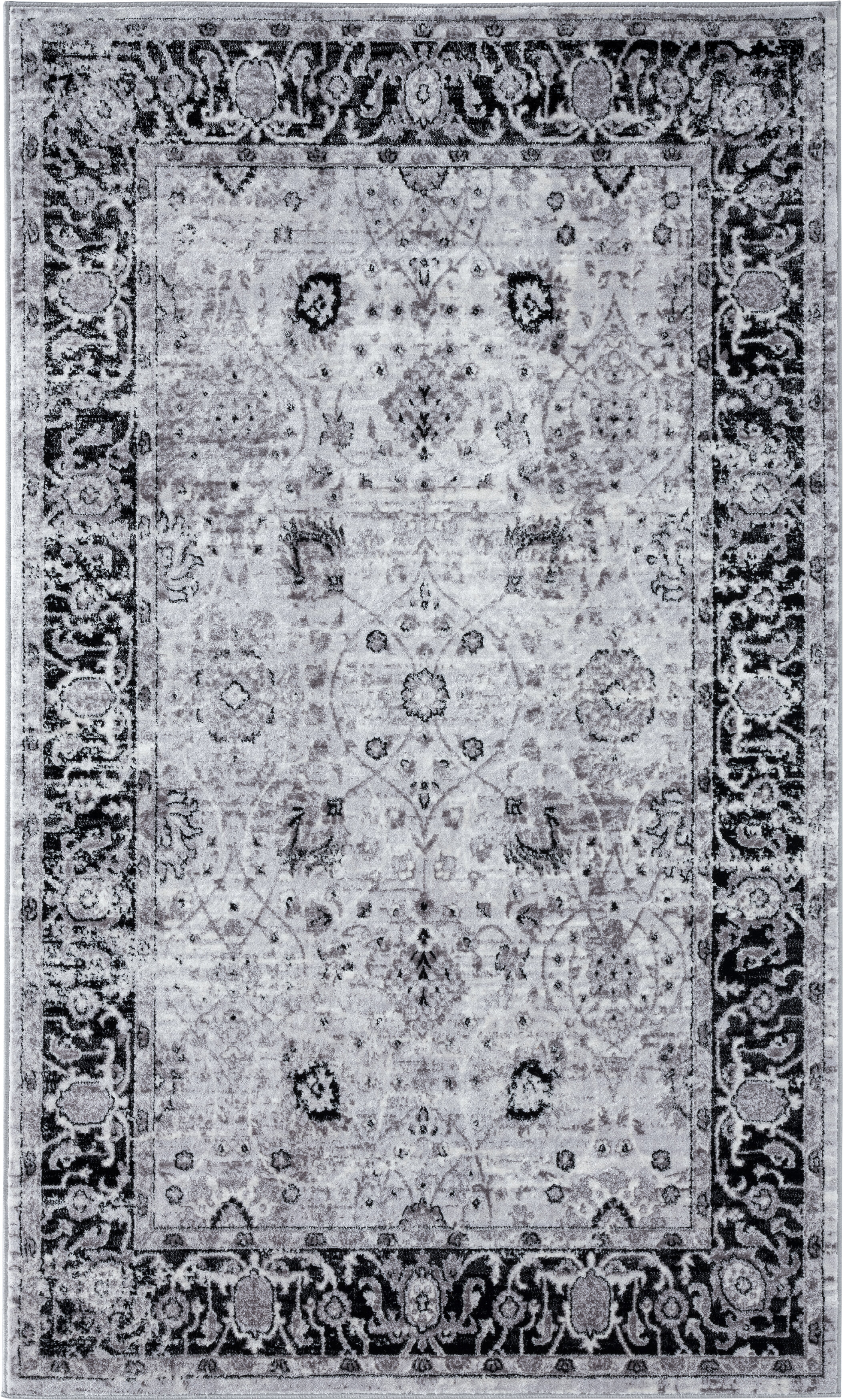 World Menagerie Bessoir Power Loom Black Ivory Rug