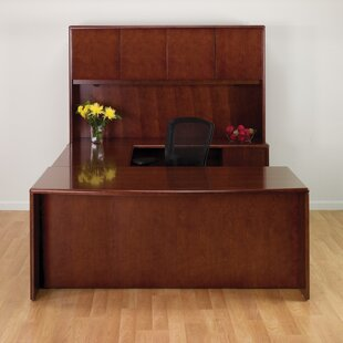 Jusino U-Shape Executive Desk With Hutch by Latitude Run Herry Up