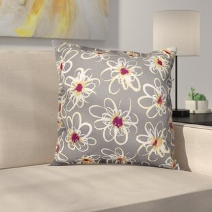 Cherry Penelope Floral Geometric Outdoor Throw Pillow