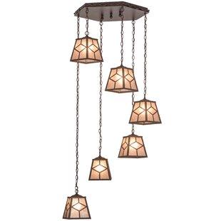 Meyda Tiffany Greenbriar Oak Diamond Mission 6-Light Pendant