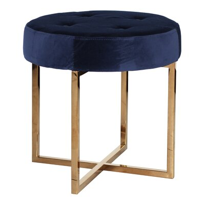 Stupendous Worldsaway Vanity Stool Finish Brass Upholstery Color Navy Dailytribune Chair Design For Home Dailytribuneorg