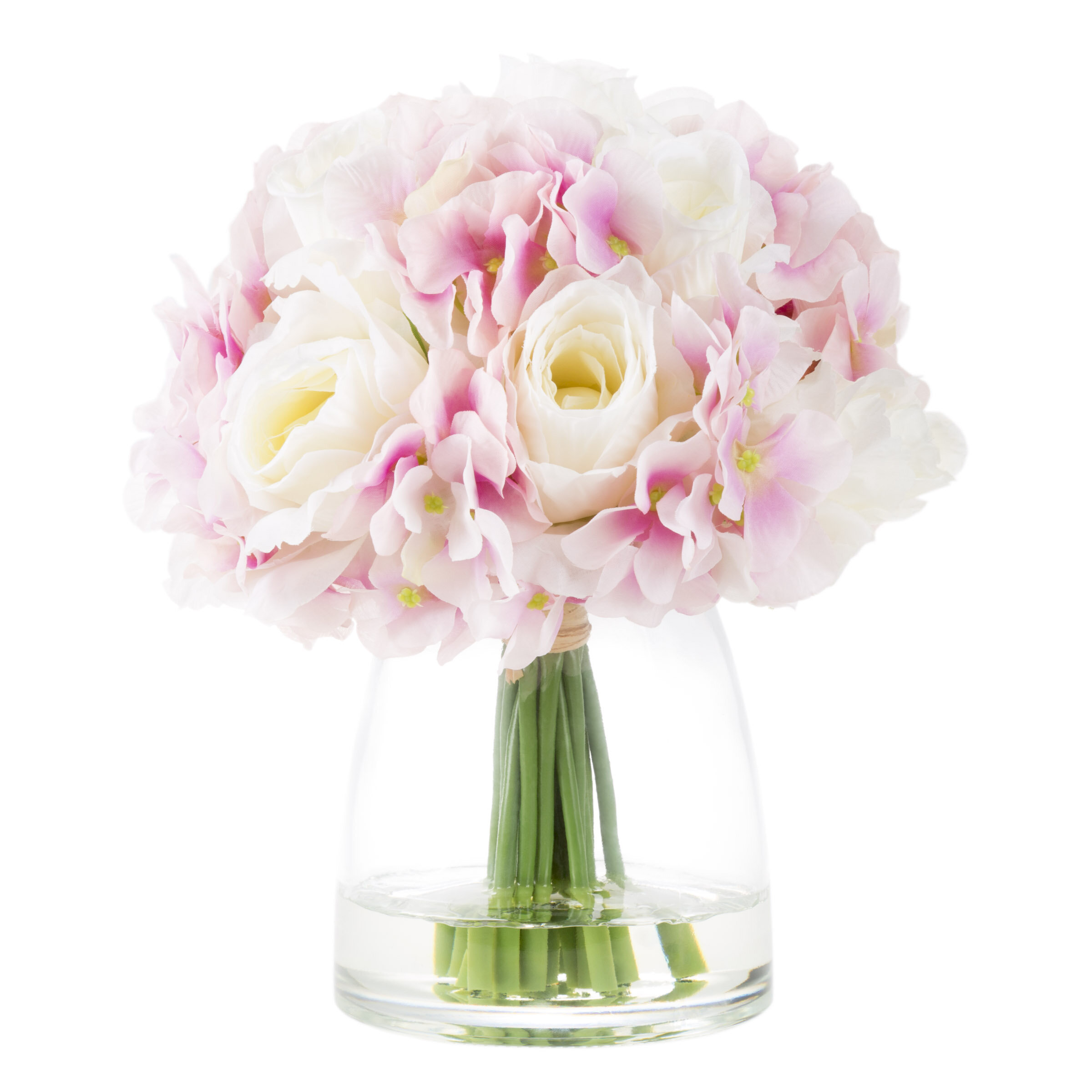 House Of Hampton Hydrangea And Rose Floral Arrangement In Glass Vase