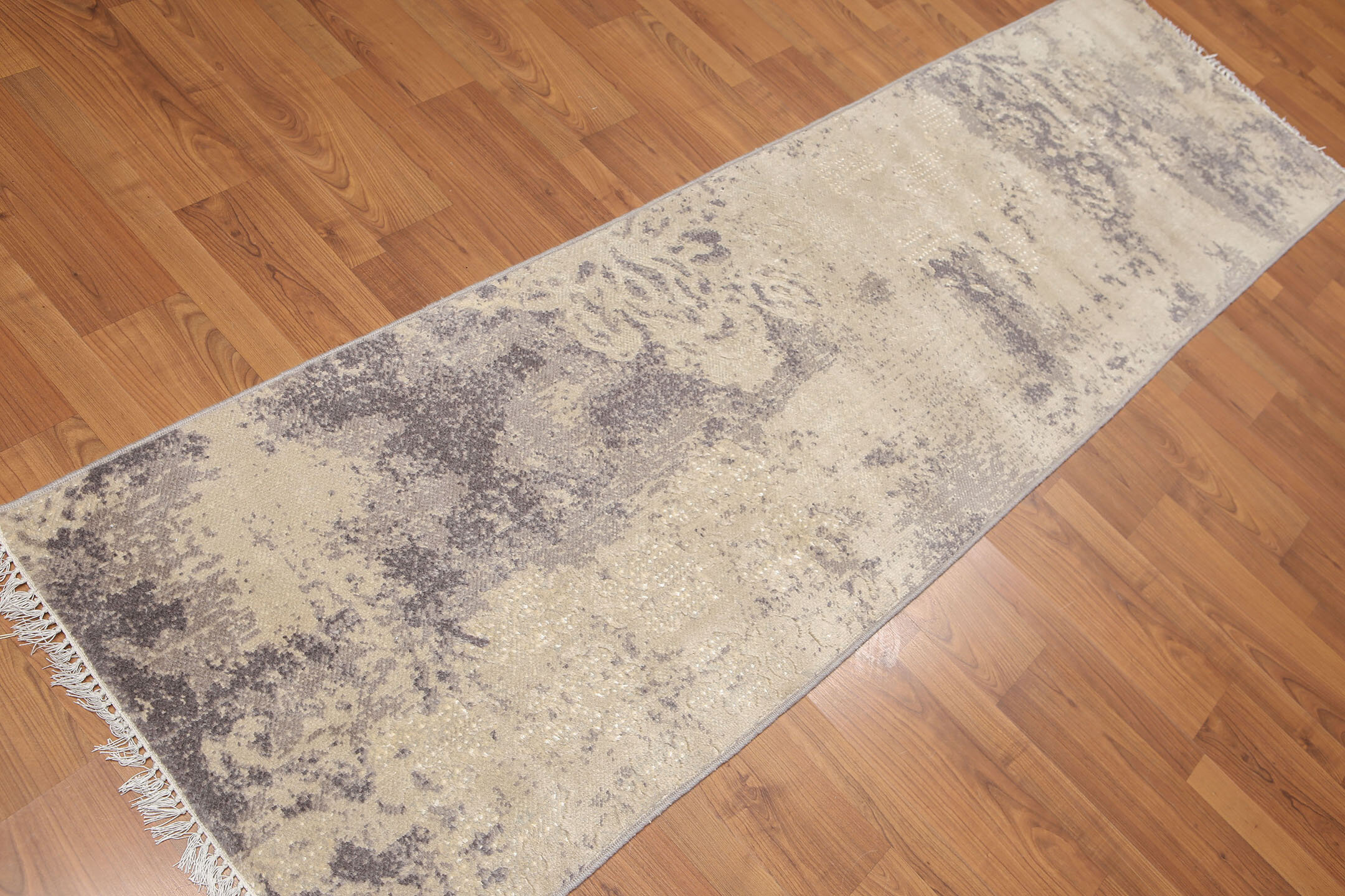 One Of A Kind Pursel Hand Knotted Runner 2 4 X 8 Wool Beige Gray Area Rug