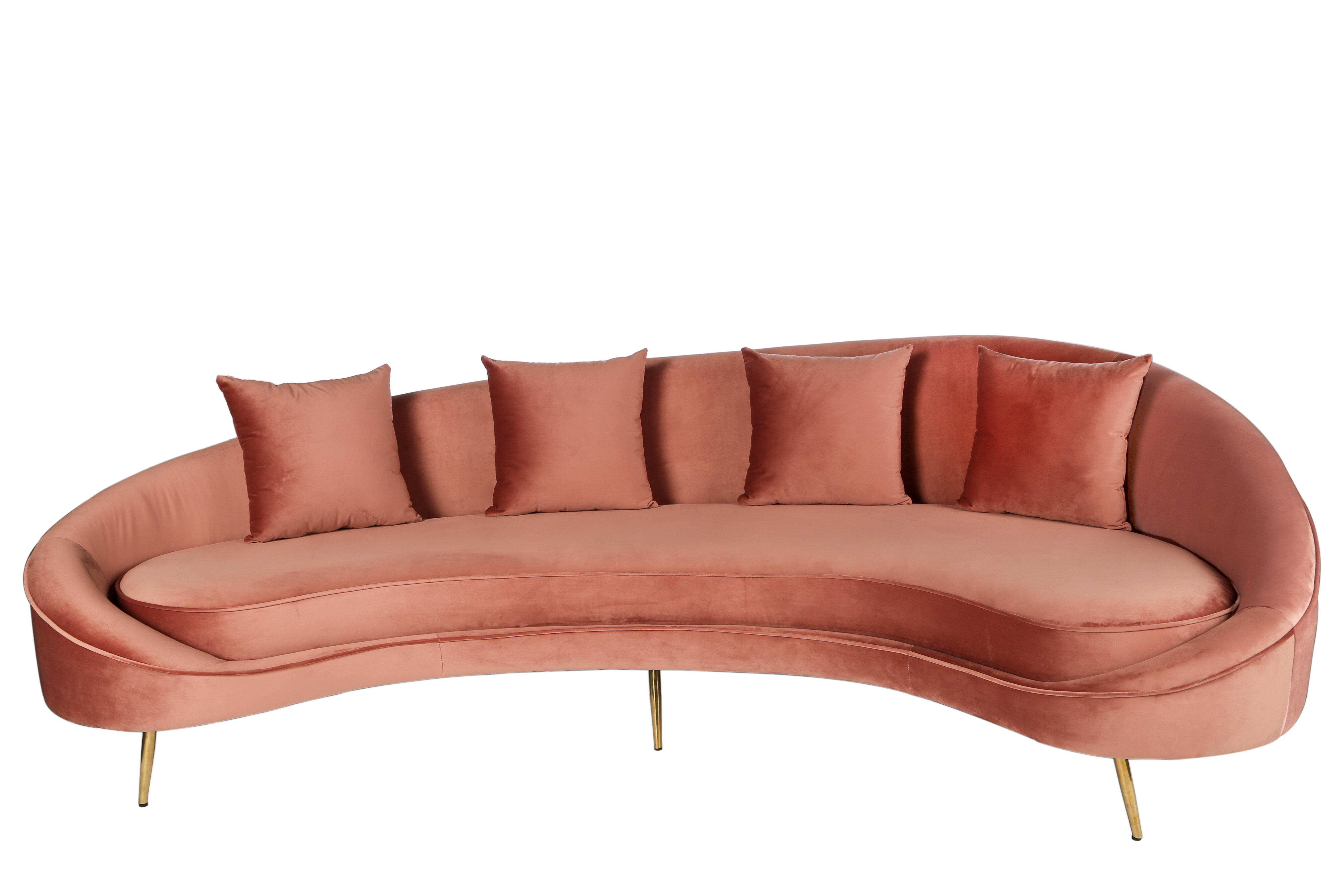 everly quinn hadriana velvet curved 101 armless sofa eyqn5607