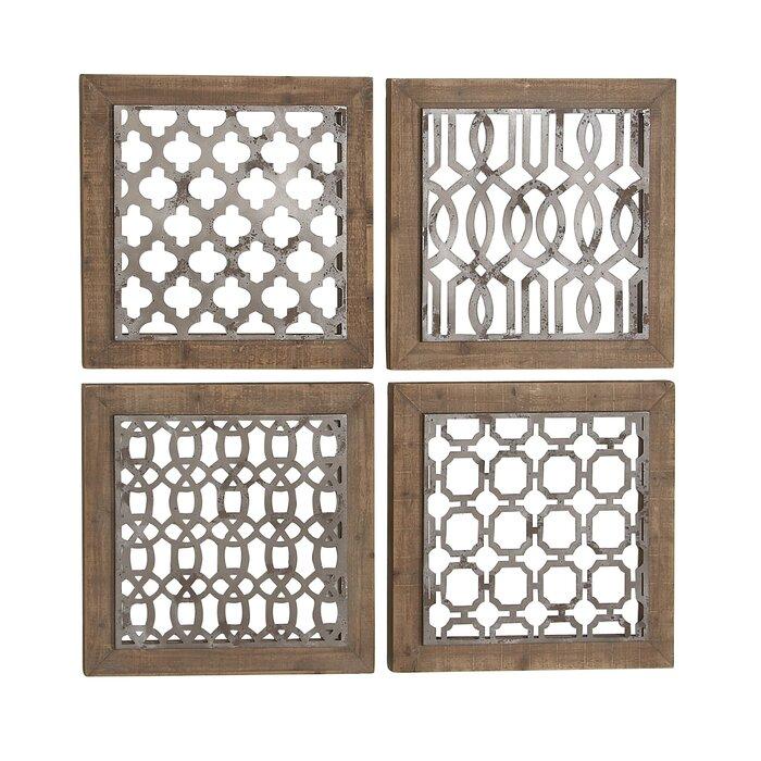 4 Piece Traditional Wood Geometric Wall Decor Set