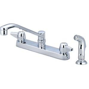 Central Brass Double Handle Centerset Standard Kitchen Faucet with Side Spray