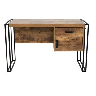 Gracie Oaks Caspian Industrial Rectangular Writing Desk (Set of 2)