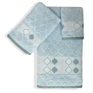 Shell Rummel Sea Glass 3 Piece 100% Cotton Towel Set