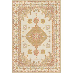 Moon Hand-Tufted Wool White/Mustard Area Rug By Astoria Grand