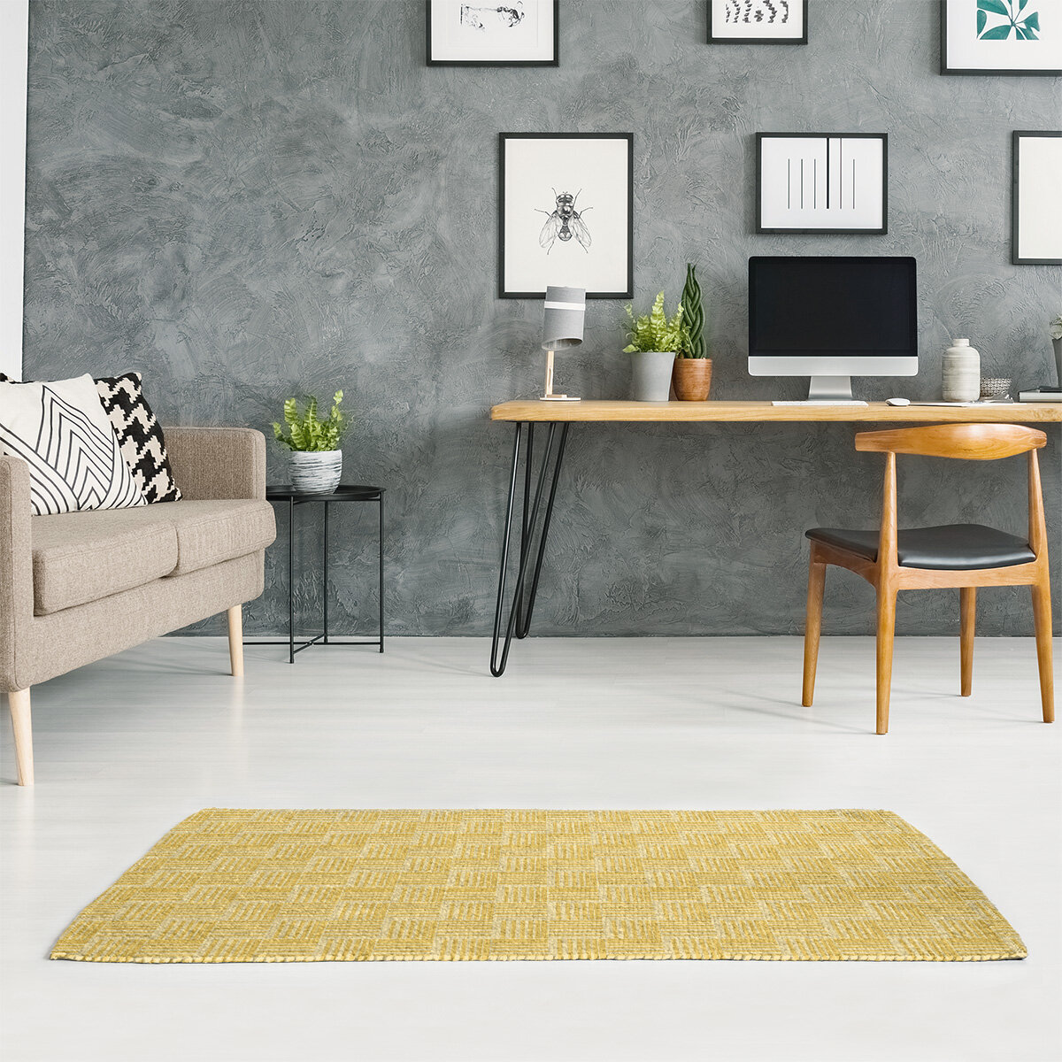 East Urban Home Monochrome Basketweave Stripes Yellow Area Rug Wayfair