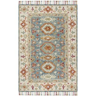 Garvin Hand-Tufted Wool Blue/Ivory Area Rug by Bloomsbury Market
