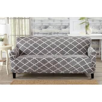 Alcott Hill Box Cushion Sofa Slipcover & Reviews   Wayfair