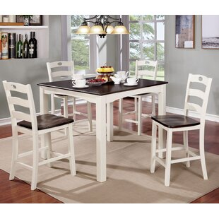 Red Barrel Studio Harkins Wooden 5 Piece Counter Height Dining Table Set