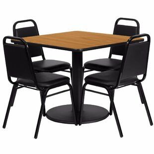 Alvarado Square Laminate 5 Piece Pedestal Dining Set Red Barrel Studio