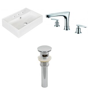 Affordable Ceramic Rectangular Bathroom Sink with Faucet and Overflow ByAmerican Imaginations