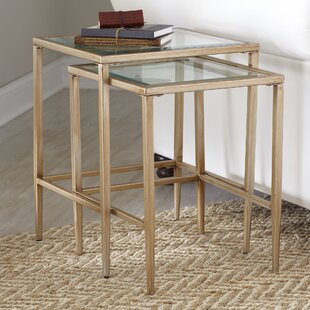 Glass end tables youll love wayfair nash nesting tables set of 2 watchthetrailerfo