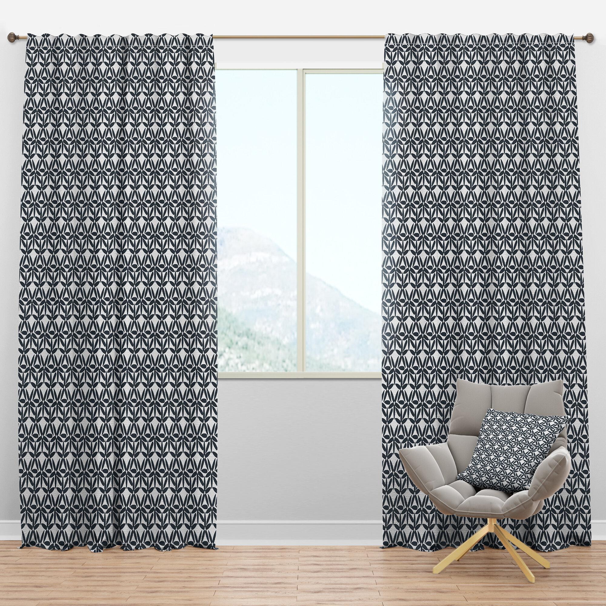 East Urban Home Mid Century Design Iv Floral Semi Sheer Thermal Rod Pocket Curtain Panels Wayfair