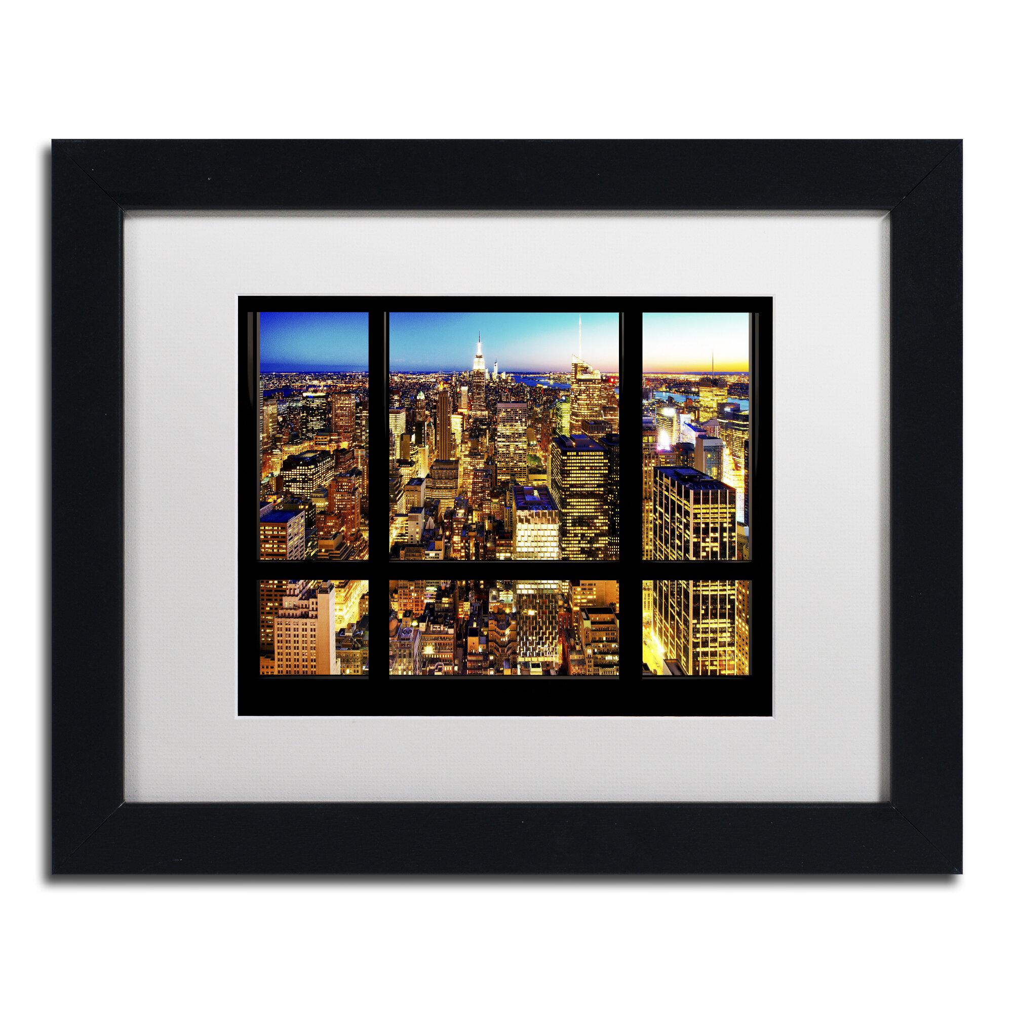 Trademark Art Night View Of Manhattan Framed Photographic Print On Canvas Wayfair
