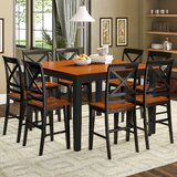 Krull Counter Height Butterfly Leaf Rubberwood Solid Wood Dining Set by Red Barrel Studio®