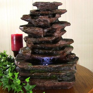 Polyresin Soothing Rock Falls Tabletop Fountain With Light