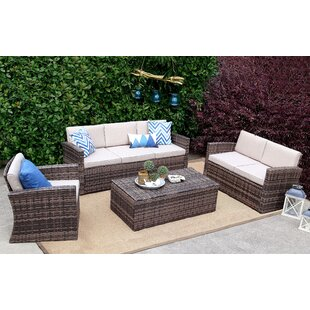 Vivaan 4 Pieces Rattan Sofa Seating Group with Cushions