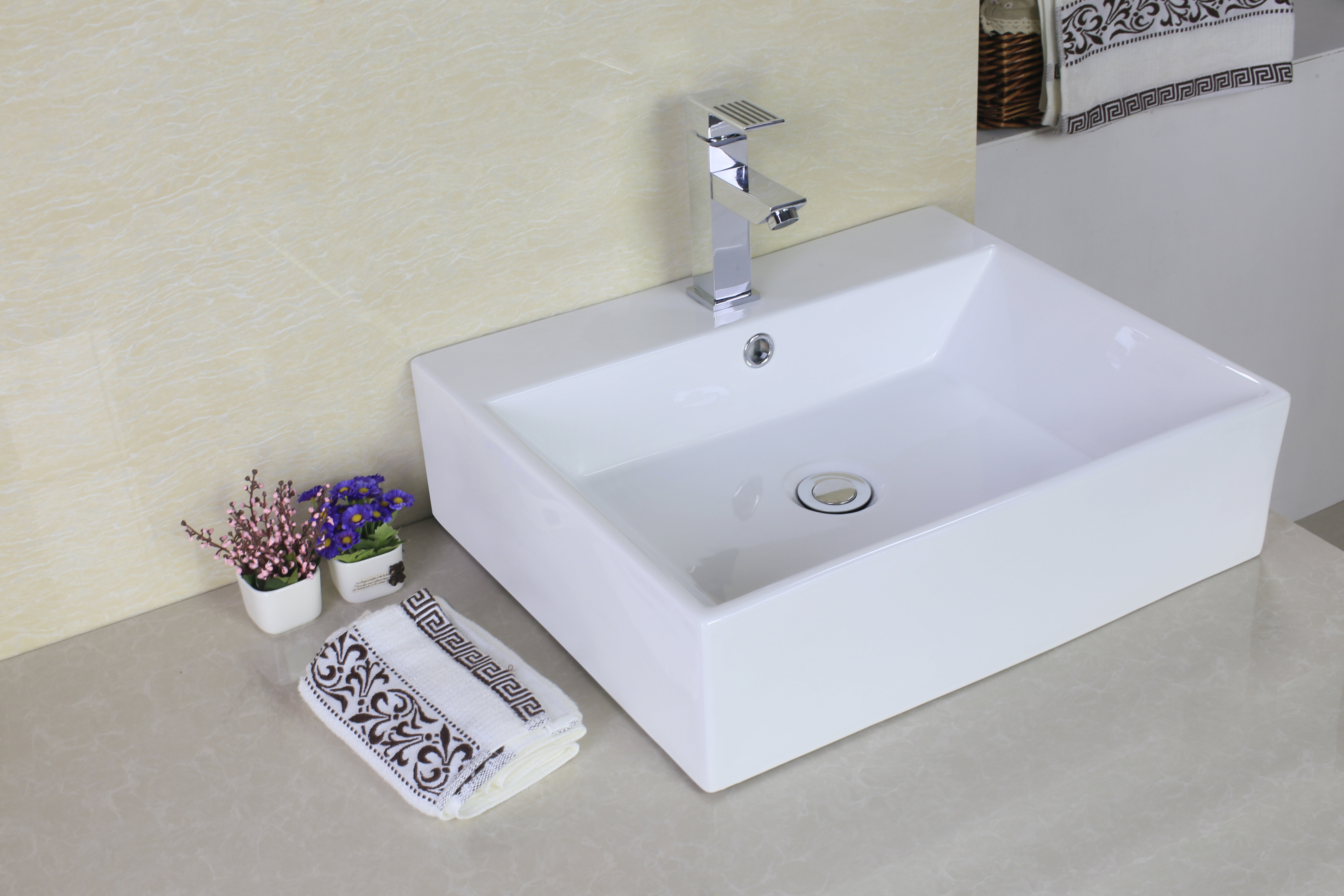 American Imaginations Ceramic Rectangular Vessel Bathroom Sink with ...