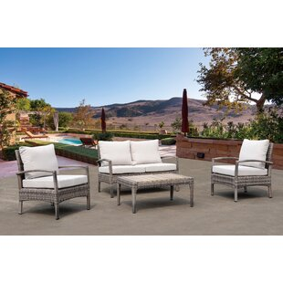 Rosecliff Heights Carruthers 4 Piece Sofa Set with Cushions