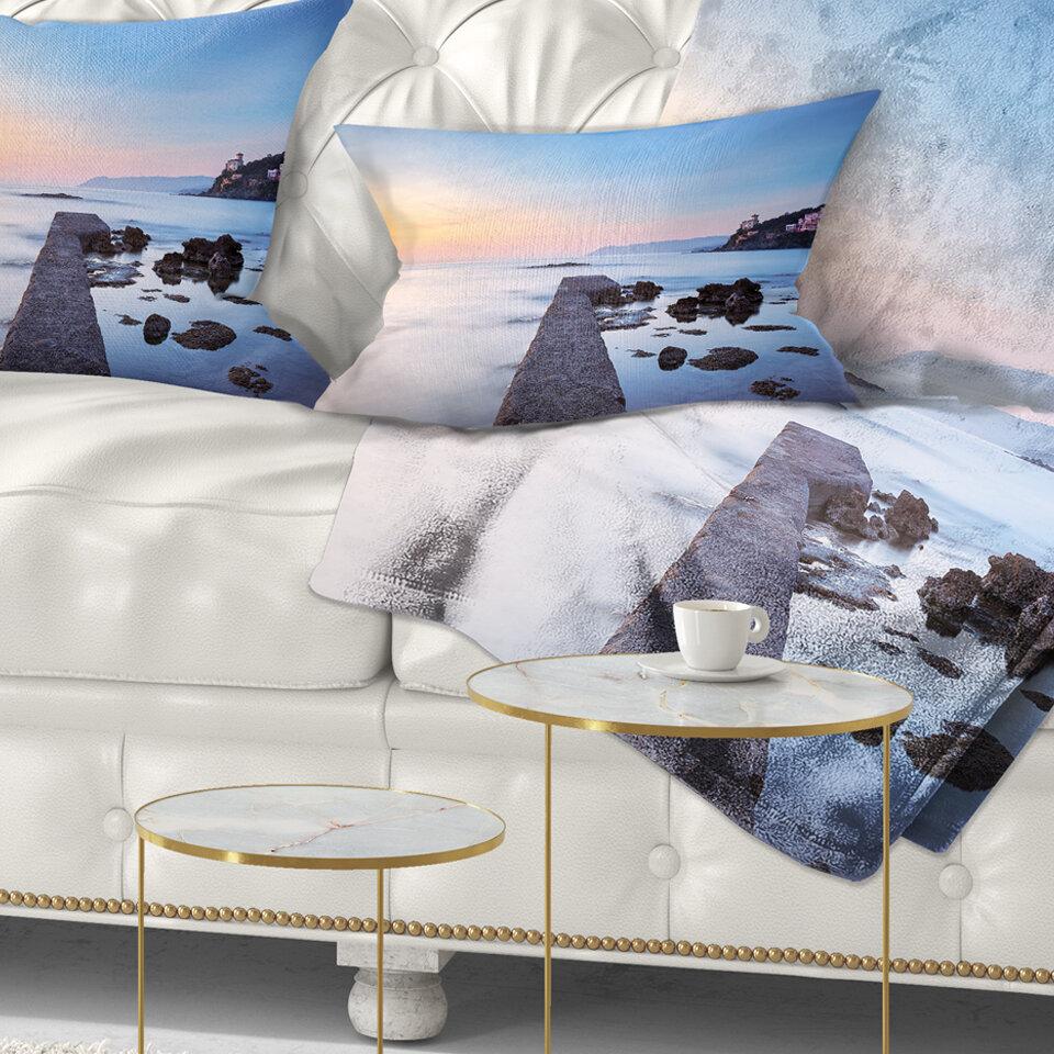 East Urban Home Seascape Castiglioncello Bay Concrete Pier Lumbar Pillow Wayfair