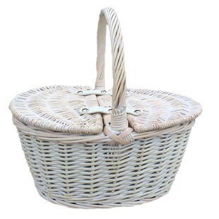 Lidded Wicker Picnic Basket By Brambly Cottage