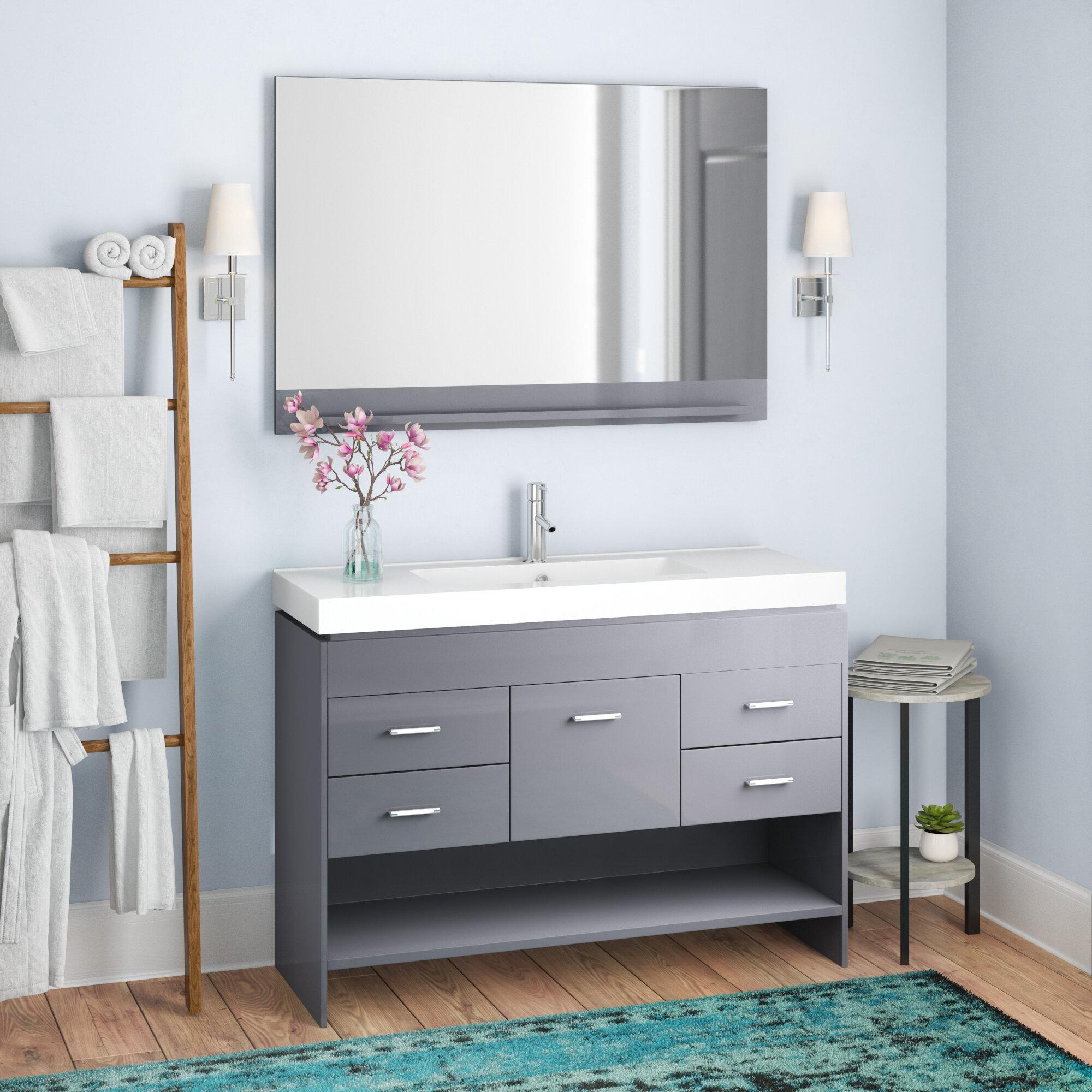 Mercury Row Carstens 47 Single Bathroom Vanity Set With Ceramic Top And Mirror Reviews Wayfair