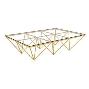 Purchase Bertram Modern Polished Metal/Glass Coffee Table By Everly Quinn