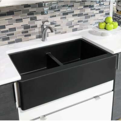 Quartz 34 X 21 Double Basin Farmhouse Kitchen Sink Karran Finish Black