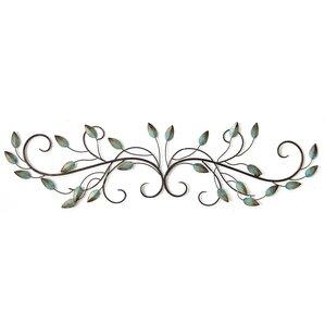 hanging patina teal metal leaf scroll wall dcor