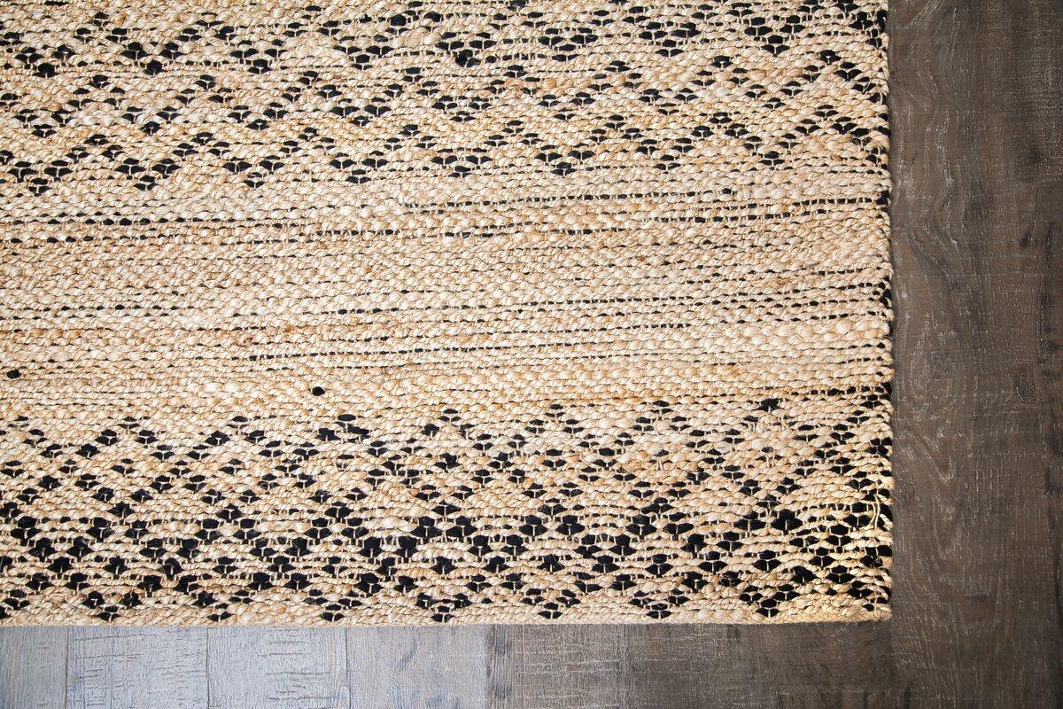 Black And Tan Area Rugs bungalow rose alina hand-woven black/tan area rug & reviews | wayfair