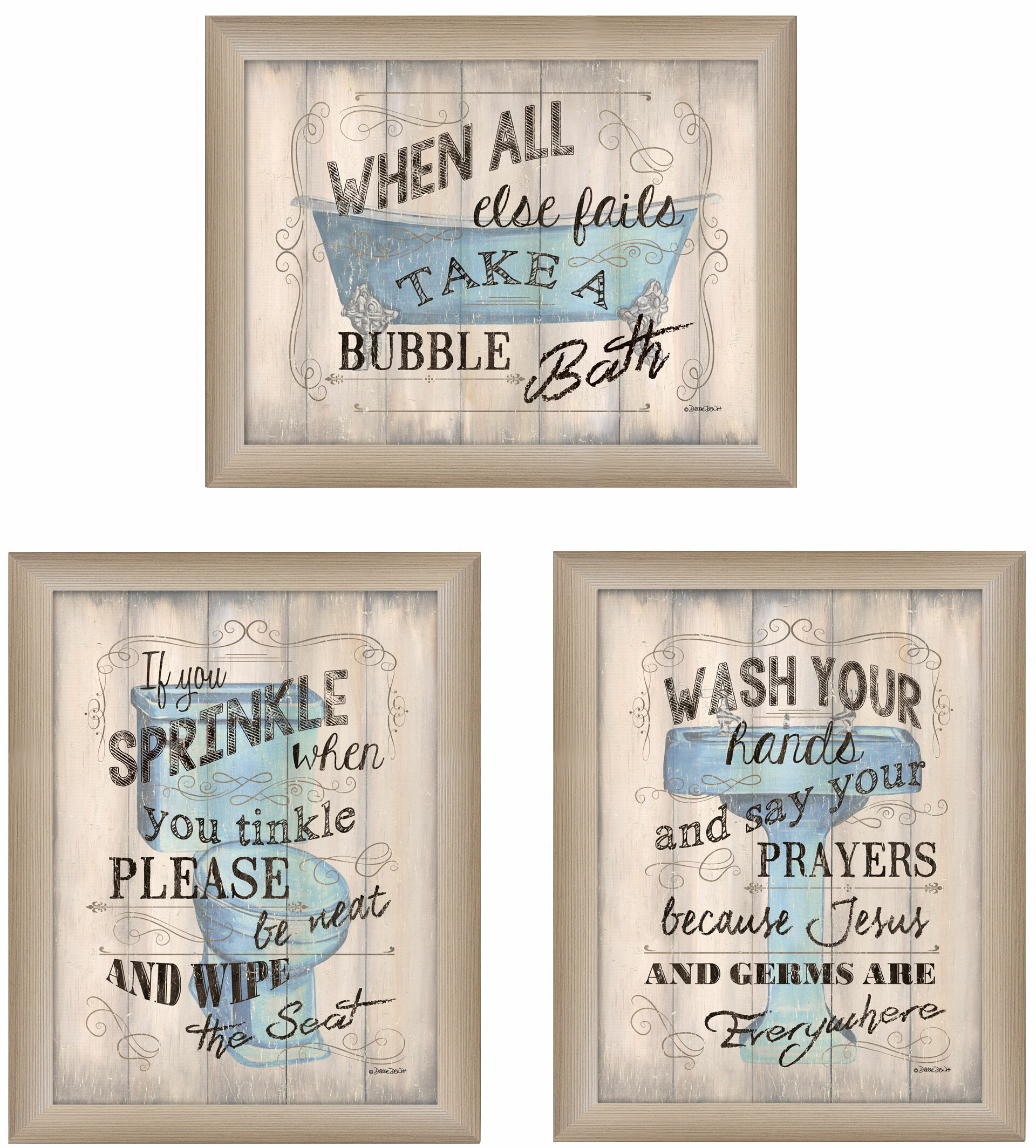 Winston Porter Bathroom Humor Framed Panoramic Textual Art Print Set On Canvas Reviews Wayfair