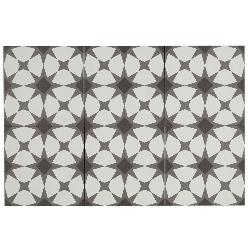 "Encausto 8"" x 8"" Porcelain Field Tile in White/Black"