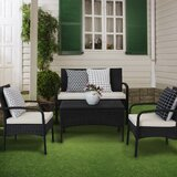 Akol 4 Piece Rattan Sofa Seating Group with Cushions by Red Barrel Studio®