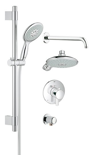 Grohe GrohFlex Thermostatic Tub and Shower Faucet   Reviews   Wayfair. Black Shower Head And Faucet. Home Design Ideas