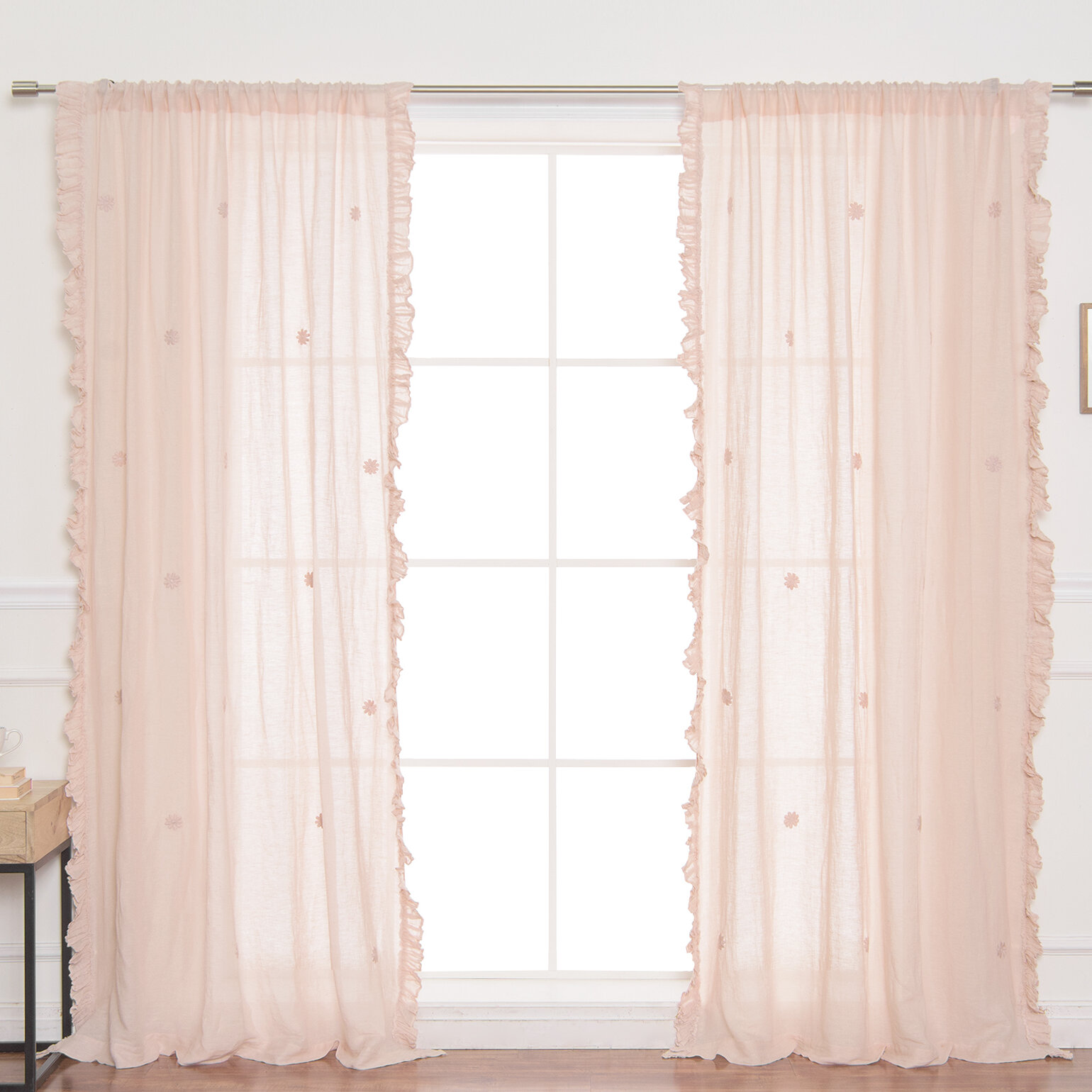 Attached Valance Style Double Layer Lace Curtains Princess Pink Ruffle Curtains 2 Panels For Girls Bedroom Curtains Blinds Shutters