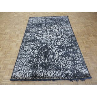 Price Check One-of-a-Kind Dustin Tone on Tone Hand-Knotted 5'11 x 9'3 Wool/Silk Black/White Area Rug By Isabelline