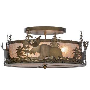 Meyda Tiffany Moose at Dusk 4-Light Semi Flush Mount