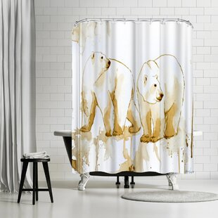 Allison Gray Coffee Polar Bears Single Shower Curtain