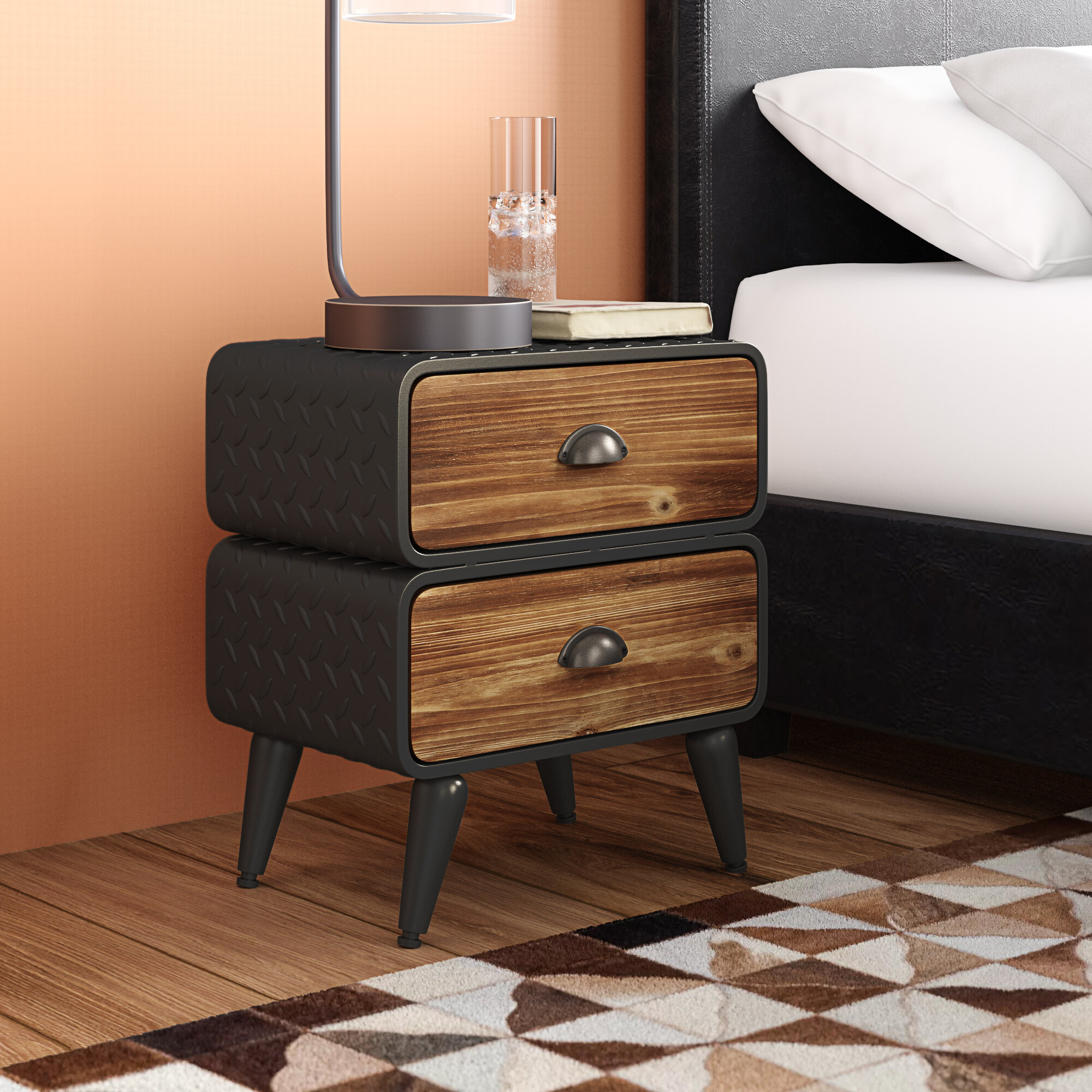 buy popular c5c4d 94cd2 Krish Rounded 2 Drawer Nightstand