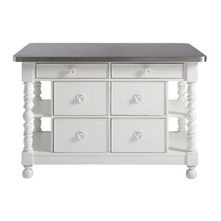 Sparacino Kitchen Island with Stainless Steel Top