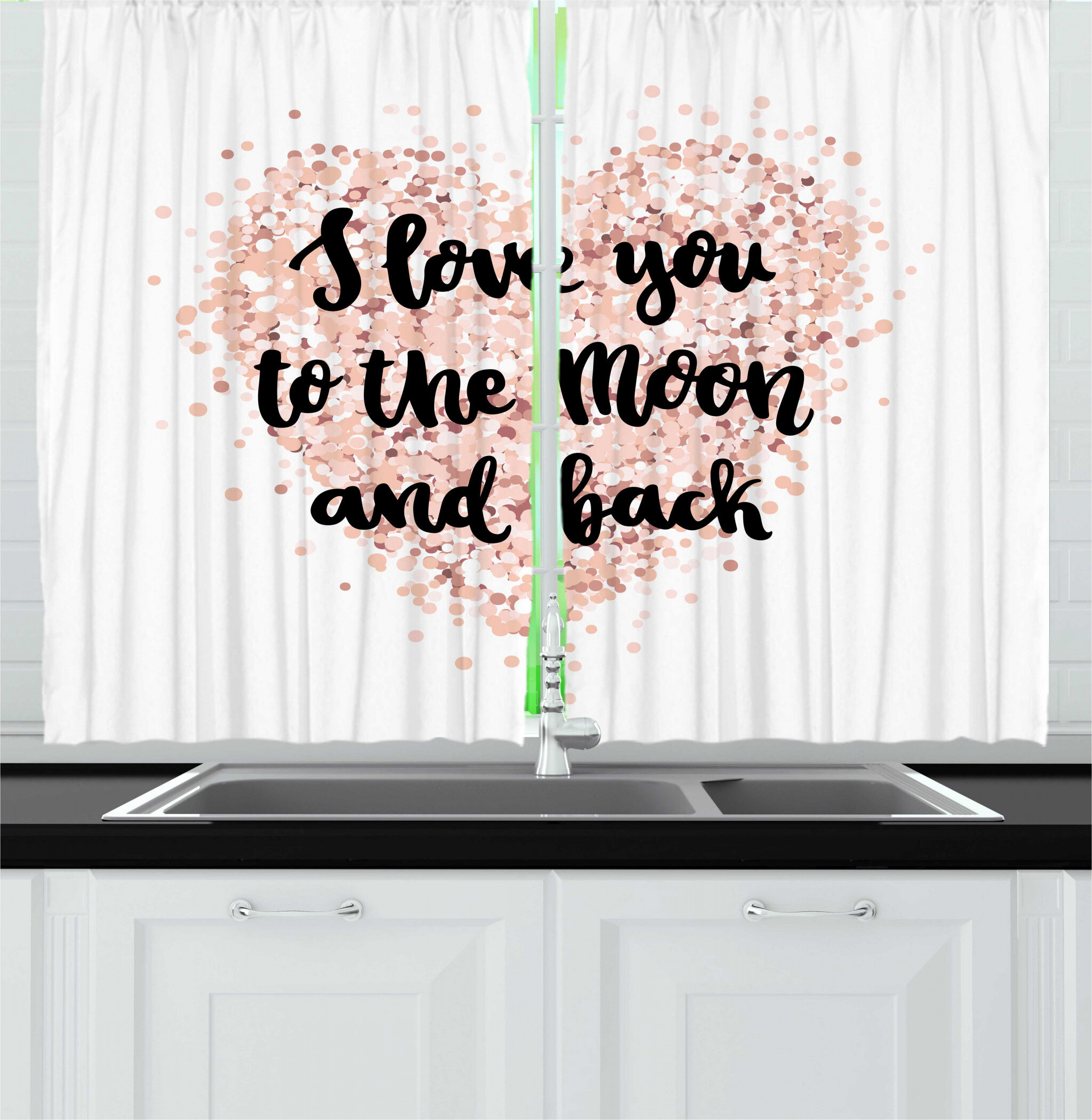 East Urban Home 2 Piece Saying Cursive I Love You To The Moon Back Calligraphy On Dotwork Heart Kitchen Curtain Set Wayfair