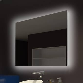 Orren Ellis Lamatan Inner L E D Rounded Edge Mirror Wayfair Ca