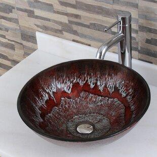 Price Check Elite Glass Circular Vessel Bathroom Sink ByElimaxs