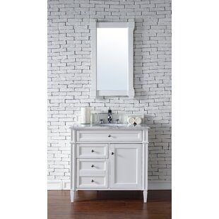 Deleon 36 Single Cottage White Granite Top Bathroom Vanity Set by Darby Home Co